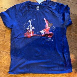 Women's cut Uniqlo Disney Sorcerer Mickey Shirt